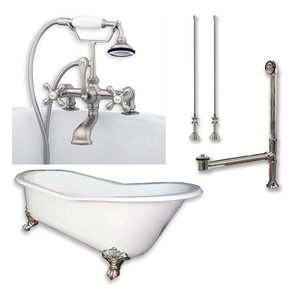 """Cast Iron Slipper Clawfoot Tub, Brushed Nickel Plumbing Package, 67""""x30"""""""