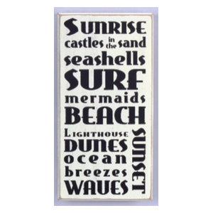 Beach Words Surf Sunset Ocean Breezes Distressed Wood 11.75 Inch Sign WallDecor
