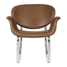 HomeFare   Brown Faux Leather Metal Back Rocking Chair   Rocking Chairs