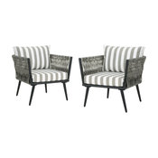 GDF Studio Weber Outdoor Club Chairs, Light Gray/Gray/White Stripe, Set of 2