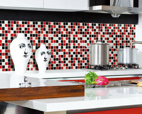 Glass white red black tile backsplash kitchen bath shower for Red and black kitchen backsplash