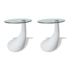 VidaXL 2x Coffee Tables W/ Round Glass Top White Stand End Side Home Furniture