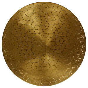 Cube Round Serving Tray, Matte Brass, Small