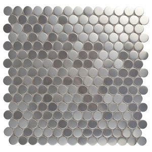 "SomerTile Penny Porcelain Mosaic Floor/Wall Tile, Silver, Sample Card, 3""x4"""