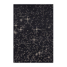 """Stella Contemporary Area Rug, Black and Ivory, 5'x7'6"""""""