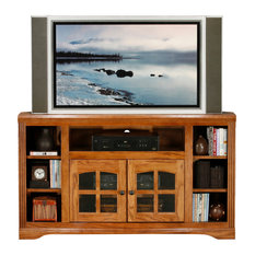 Oak Ridge Thin 55-inch Tall Corner Entertainment Console Smokey Blue Oak