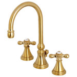 Kingston Brass - Kingston Brass Widespread Bathroom Faucet With Brass Pop-Up, Brushed Brass - The Kingston Brass Governor double-handle Lavatory Faucet is designed to add bold sophistication to your bathroom space and complement a variety of transitional decor schemes. The Brass construction ensures long-lasting use and enjoyment and a Drip-Free Ceramic Disk Cartridge is designed for smooth handle operation and nearly drip-free performance. The high arched Gooseneck spout, porcelain capped cross handles, and beautifully detailed escutcheons will add a classic charm to any bathroom ensemble.