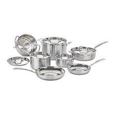 12-Piece Cookware Set, Stainless Steel Construction With Polished Surface