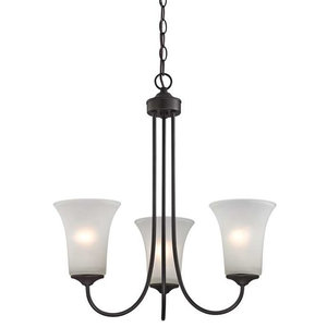 Charleston 3-Light Chandelier, Oil Rubbed Bronze/White