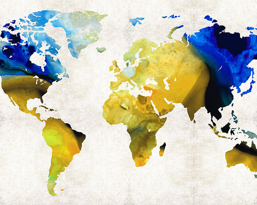 Maps World and US Maps Large Colorful Unique Wall Art From
