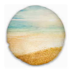 "Summer Beach View with Fine Gold Sand Modern Seascape Throw Pillow, 16"" Round"