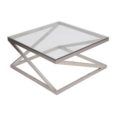 Good Flash Furniture   Flash Furniture Coylin Square Glass Top Coffee Table, Brushed  Nickel   Side