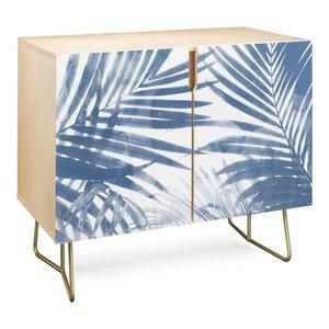 Deny Designs Serenity Palms Credenza, Birch, Gold Steel Legs