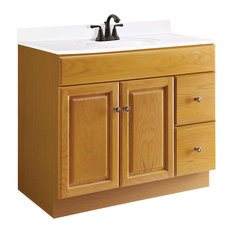 "Claremont Unassembled 2-Door Vanity Without Top, 36"", Honey Oak"