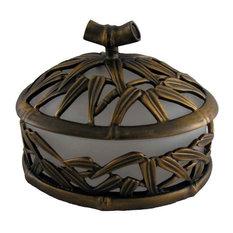 Bamboo Vanity Top Sm. Jar, Antique Gold