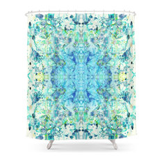 Beautiful Abstract Shower Curtains Symmetrical Watercolor Curtain Intended Inspiration