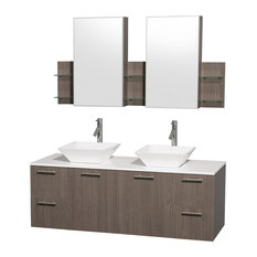 Amare Gray Oak Double Vanity With White Man-Made Stone Top and Cabinet, 60""