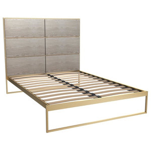 Federico King Bed, Weathered Oak, Brass Base