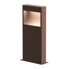 "Inside Out Square Curve 16"" LED Bollard, Textured Bronze Finish"