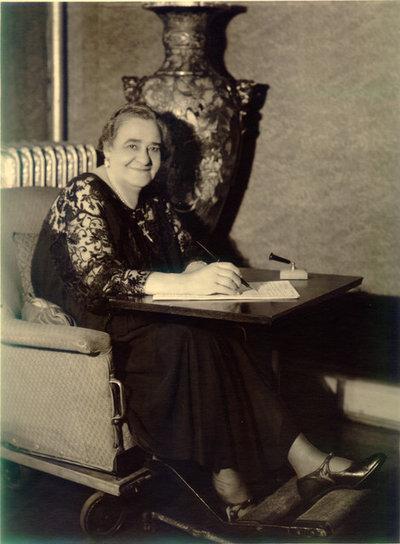Mrs. Walker in her wheelchair, circa 1928 to 1932.