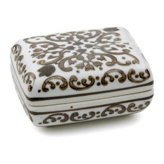 """3 1/2"""" Floral Brown and White Porcelain Small Jewelry Box"""