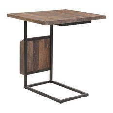 Onzaga Mango Wood Adjustable C-Shaped End Table With Magazine Rack