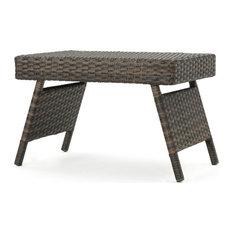 Alice Outdoor Mixed Mocah Wicker Adjustable Folding Side Table