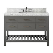 "Elizabeth Bath Vanity Set, Sapphire Gray, 48"", Brushed Nickle Hardware, Carrara"