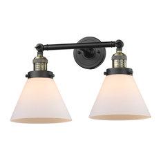 Large Cone 2-Light LED Bath Fixture, Black Antique Brass, Glass: White Cased