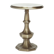 Round Accent Table With Octagonal Base In Pewter Finish
