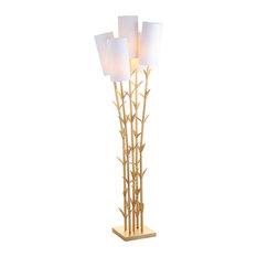 """Bamboo 5-Light Brass 65.5"""" LED Floor Lamp, Gold and White"""
