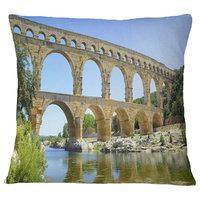 """Roman Aqueduct Bridge in France Bridge Throw Pillow, 16""""x16"""""""