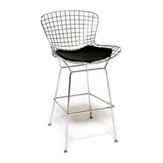 Wire Bar Stool Chrome Finish Black Seat Pad