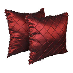 "18"" Beaded Satin Sheen Polyester Square Throw Pillows, Set of 2, Bronze, Dark Re"