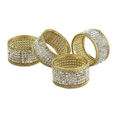 Leeber Gold Napkin Rings With Crystals, Set of 4