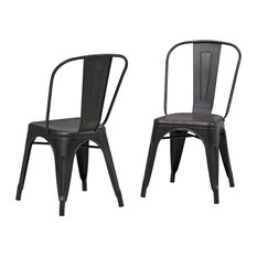 Fletcher Metal Dining Chairs, Distressed Black and Copper, Set of 2