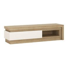 1-Drawer TV Cabinet With Open Shelf, Including LED Lighting, Oak White
