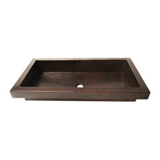 Rectangular Raised Profile Bathroom Copper Sink With Apron