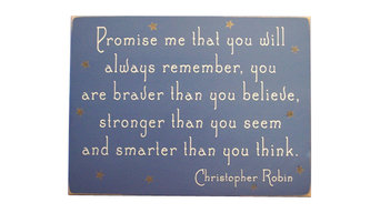 Promise Me That You Will Always Remember Wooden Sign, Light Blue, 9x12x.5