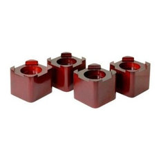 Richards Homewares - Wood Mahogany Square Bed Risers - Bed Accessories