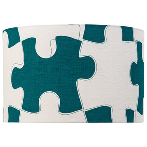 """""""It's a Puzzle"""" Lampshade, Teal and White, Pendant Fitting"""