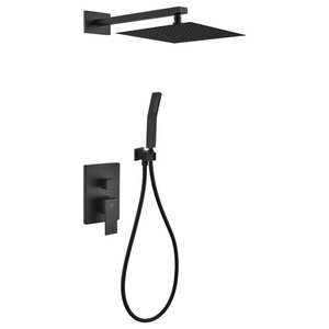 "Aqua Piazza Matte Black Shower Set with12"" Square Rain Shower and Handheld"