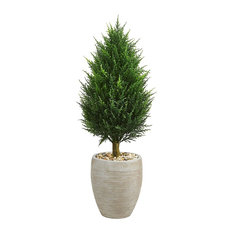"40"" Cypress Cone Artificial Tree, Sand Colored Oval Planter UV Resistant"