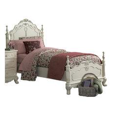 Homelegance Cinderella Kids' Poster Bed, White, Queen