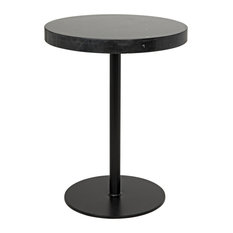 Noir Ford Stone Top Side Table Black Metal Tall