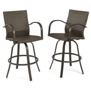 Gdf Studio Stewart Outdoor Brown Wicker Bar Stool Set Of