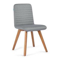 Manila Scandinavian Upholstered Dining Chair With Wooden Legs, Dark Grey