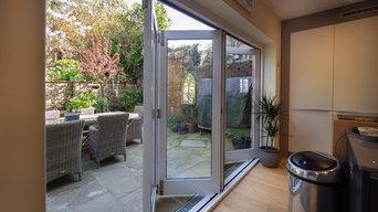 Bi-fold doors and kitchen