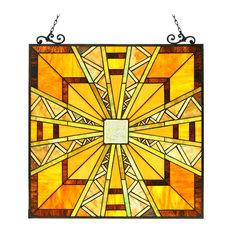 PROGRESSIVE, Tiffany-glass Mission Window Panel, 24.5x26