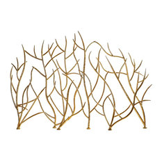 Golden Branches Fireplace Screen, Iron Twig Metal Decorative Firescreen